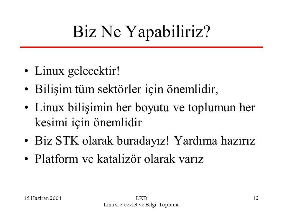 15 Haziran 2004LKD Linux, e-devlet ve Bilgi Toplumu 12 Biz Ne Yapabiliriz? Linux gelecektir! Bilişim tüm sektörler için önemlidir, Linux bilişimin her