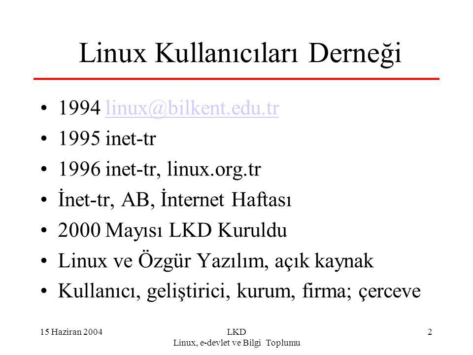 15 Haziran 2004LKD Linux, e-devlet ve Bilgi Toplumu 3 LKD - II Camia ve yurttaş için portal ve platform Sürekli seminer: ankara, istanbul, izmir.