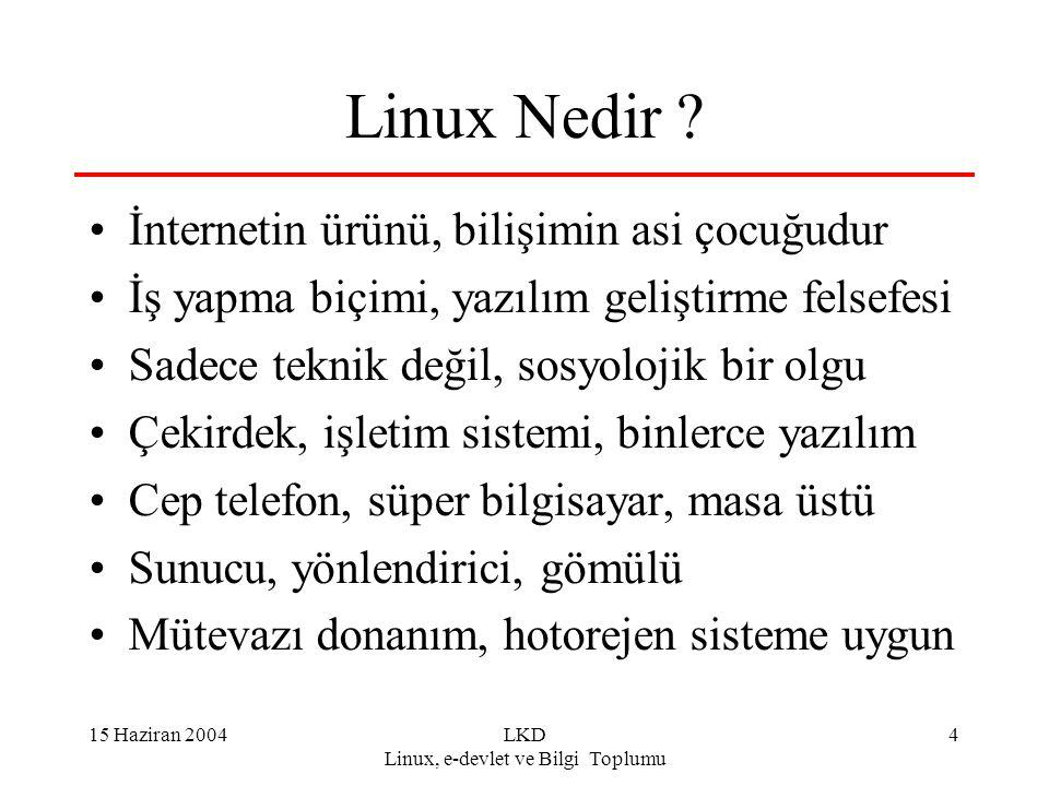 15 Haziran 2004LKD Linux, e-devlet ve Bilgi Toplumu 4 Linux Nedir ? İnternetin ürünü, bilişimin asi çocuğudur İş yapma biçimi, yazılım geliştirme fels