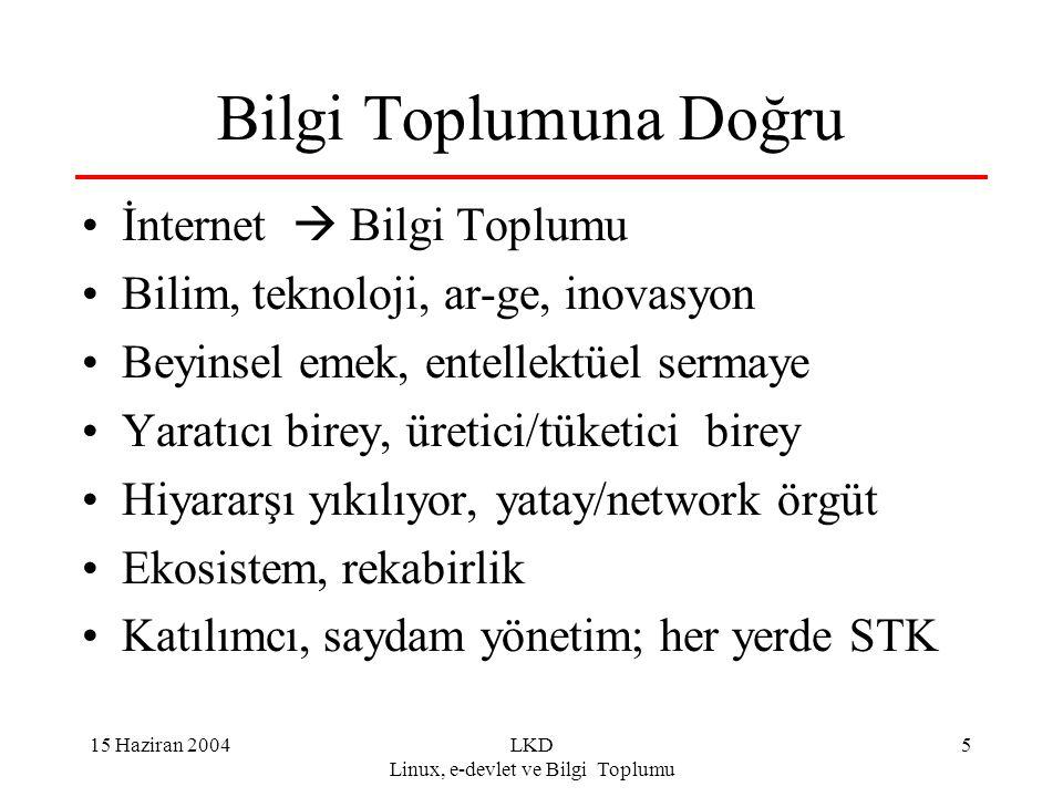 15 Haziran 2004LKD Linux, e-devlet ve Bilgi Toplumu 6 E-türkiye, e-devlet Ülkenin yeniden yapılanması: e-türkiye Devletin yeniden yapılanması: e-devlet E-devlet, e-türkiye için öncü güç Bilgisayarlaşma, internet olmazsa olmaz.
