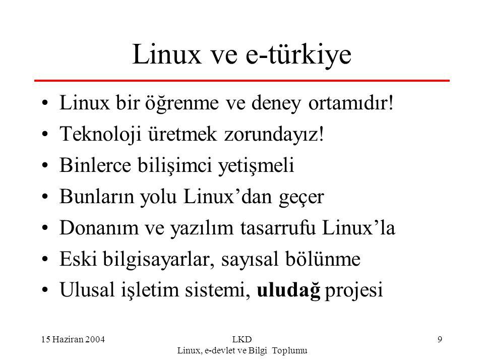 15 Haziran 2004LKD Linux, e-devlet ve Bilgi Toplumu 10 Linux ve Eğitim Her okula internet, her okula Linux Her öğrenci Linux'ü ve openofis'i görsün Pilot projelerle tüm seçenekler denensin Linux sunucular: firewall, yönlendirici, web, e-posta, listeci,...