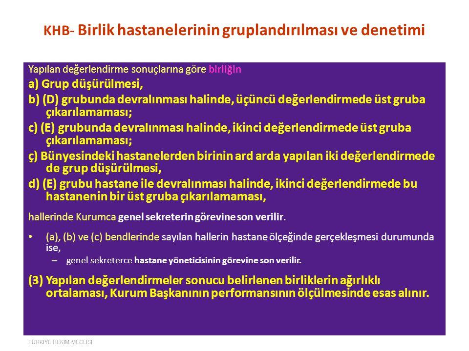 KHB- Birlik hastanelerinin gruplandırılması ve denetimi Yapılan değerlendirme sonuçlarına göre birliğin a) Grup düşürülmesi, b) (D) grubunda devralınm