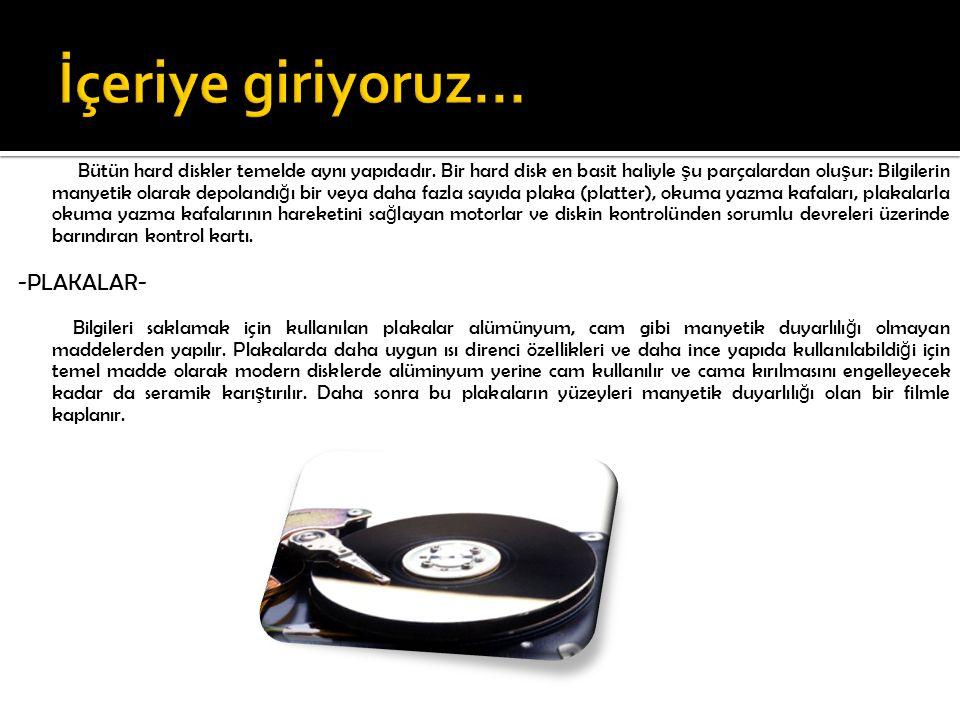 Bir hard diskte birden fazla plaka bulunabilir.