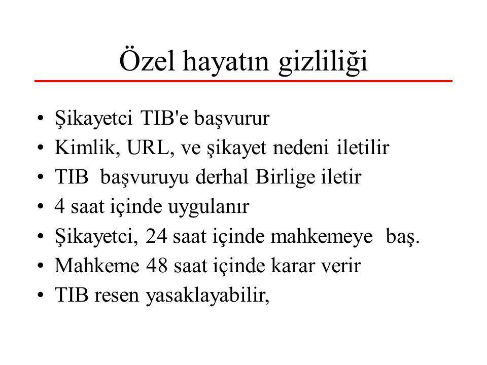 Özel hayatın gizliliği Şikayetci TIB e başvurur Kimlik, URL, ve şikayet nedeni iletilir TIB başvuruyu derhal Birlige iletir 4 saat içinde uygulanır Şikayetci, 24 saat içinde mahkemeye baş.