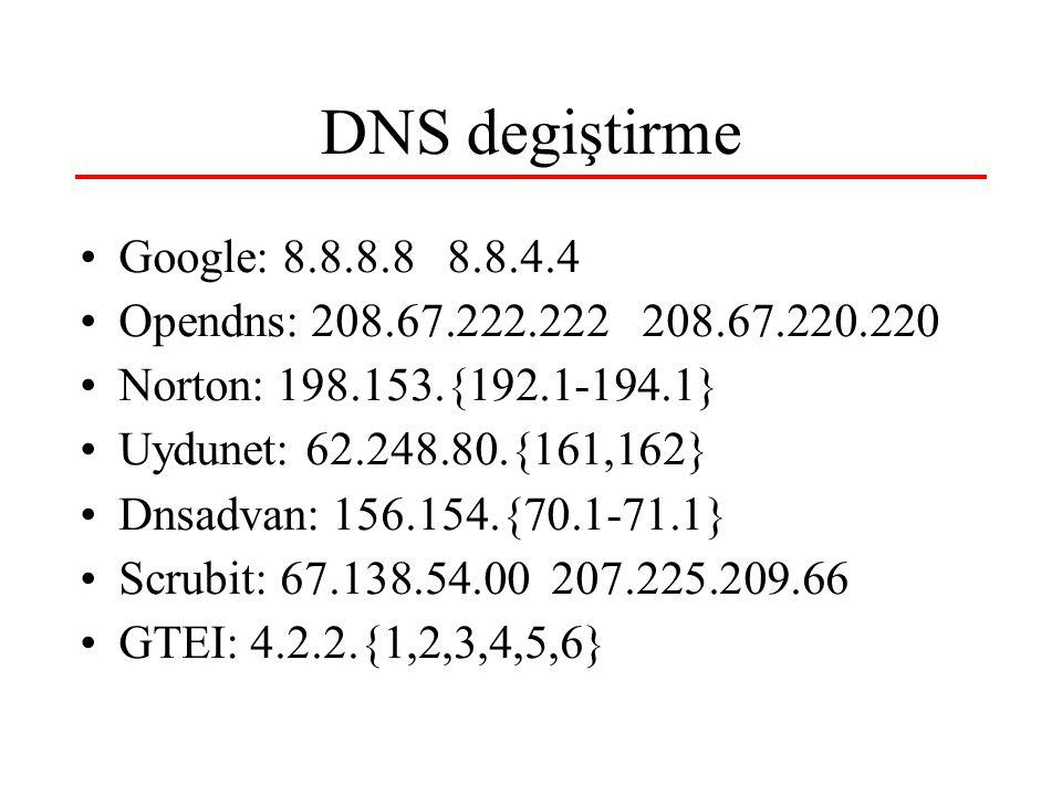 DNS degiştirme Google: 8.8.8.8 8.8.4.4 Opendns: 208.67.222.222 208.67.220.220 Norton: 198.153.{192.1-194.1} Uydunet: 62.248.80.{161,162} Dnsadvan: 156.154.{70.1-71.1} Scrubit: 67.138.54.00 207.225.209.66 GTEI: 4.2.2.{1,2,3,4,5,6}