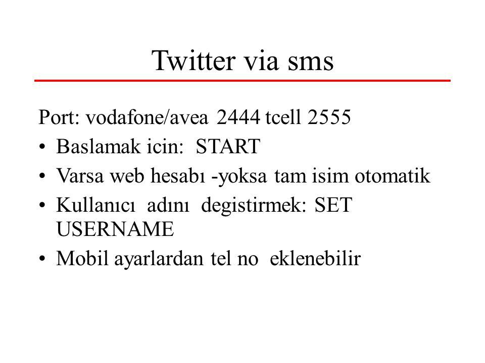 Twitter via sms Port: vodafone/avea 2444 tcell 2555 Baslamak icin: START Varsa web hesabı -yoksa tam isim otomatik Kullanıcı adını degistirmek: SET US