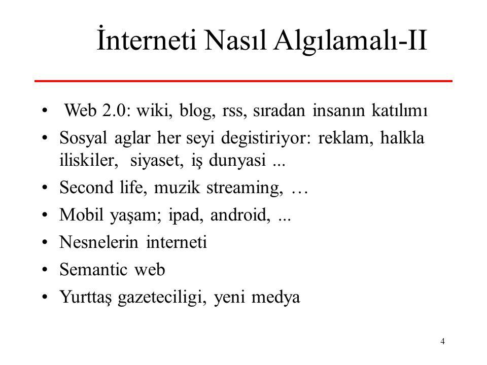 4 İnterneti Nasıl Algılamalı-II Web 2.0: wiki, blog, rss, sıradan insanın katılımı Sosyal aglar her seyi degistiriyor: reklam, halkla iliskiler, siyaset, iş dunyasi...