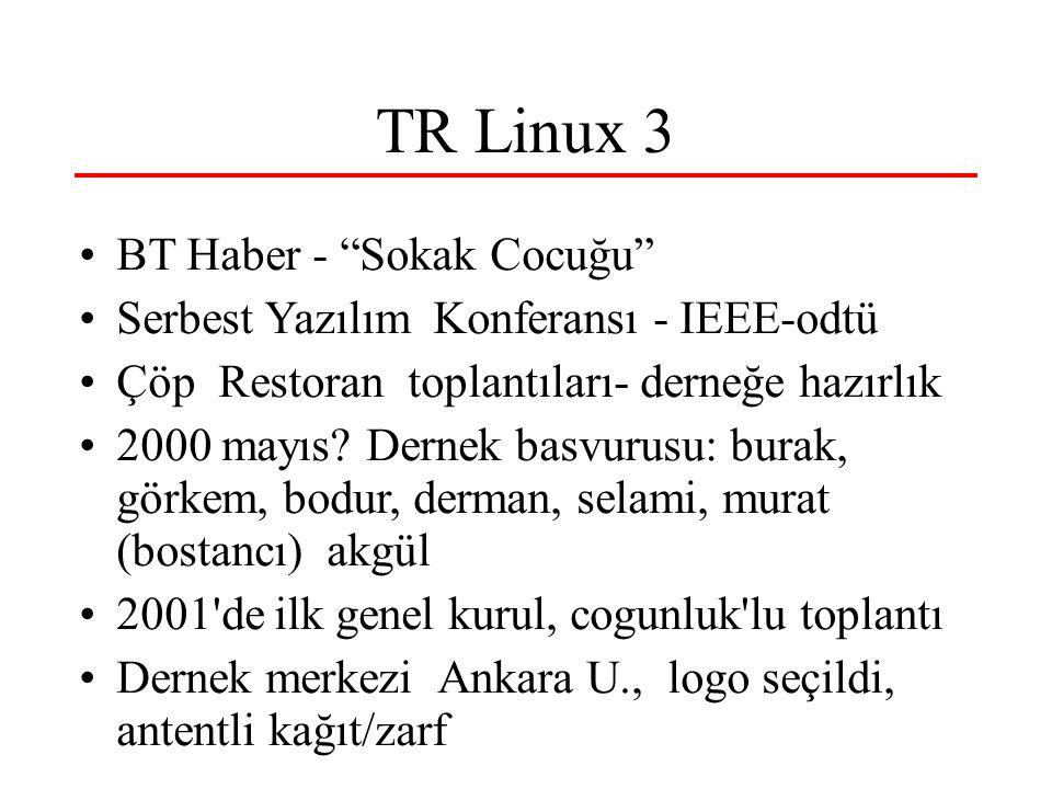 TR Linux 3 BT Haber - Sokak Cocuğu Serbest Yazılım Konferansı - IEEE-odtü Çöp Restoran toplantıları- derneğe hazırlık 2000 mayıs.