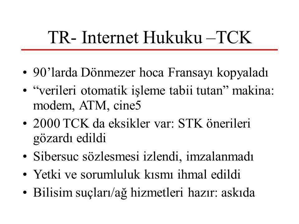 TR- Internet Hukuku –TCK 90'larda Dönmezer hoca Fransayı kopyaladı verileri otomatik işleme tabii tutan makina: modem, ATM, cine5 2000 TCK da eksikler var: STK önerileri gözardı edildi Sibersuc sözlesmesi izlendi, imzalanmadı Yetki ve sorumluluk kısmı ihmal edildi Bilisim suçları/ağ hizmetleri hazır: askıda