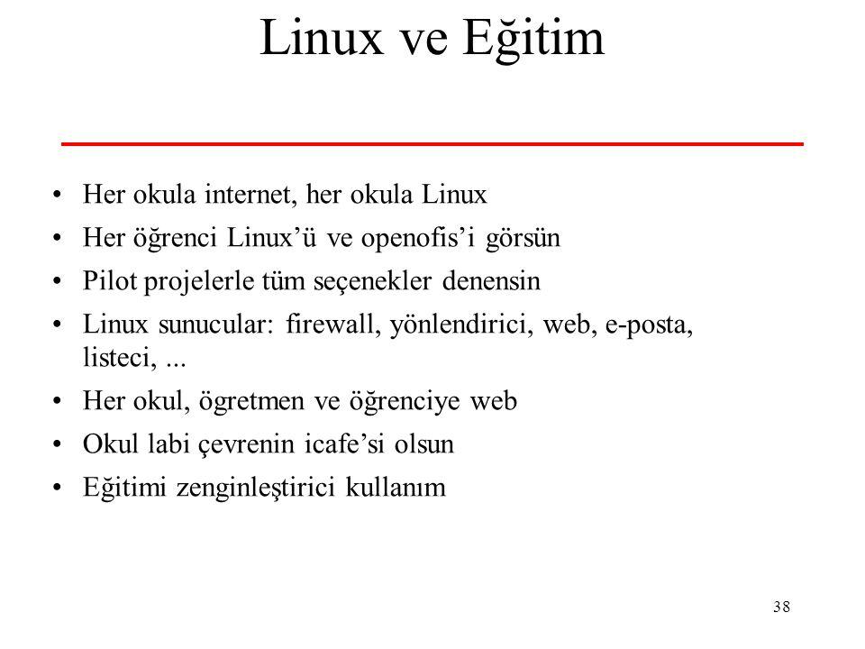38 Linux ve Eğitim Her okula internet, her okula Linux Her öğrenci Linux'ü ve openofis'i görsün Pilot projelerle tüm seçenekler denensin Linux sunucular: firewall, yönlendirici, web, e-posta, listeci,...