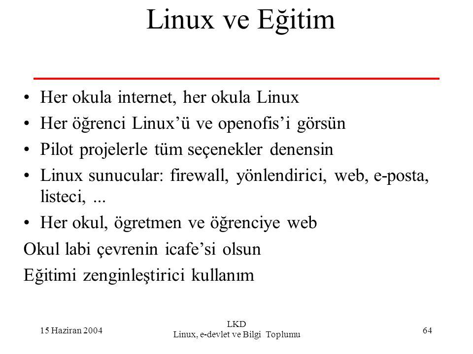 15 Haziran 2004 LKD Linux, e-devlet ve Bilgi Toplumu 64 Linux ve Eğitim Her okula internet, her okula Linux Her öğrenci Linux'ü ve openofis'i görsün Pilot projelerle tüm seçenekler denensin Linux sunucular: firewall, yönlendirici, web, e-posta, listeci,...