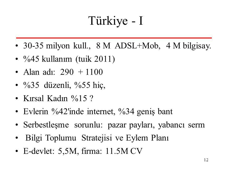 12 Türkiye - I 30-35 milyon kull., 8 M ADSL+Mob, 4 M bilgisay. %45 kullanım (tuik 2011) Alan adı: 290 + 1100 %35 düzenli, %55 hiç, Kırsal Kadın %15 ?