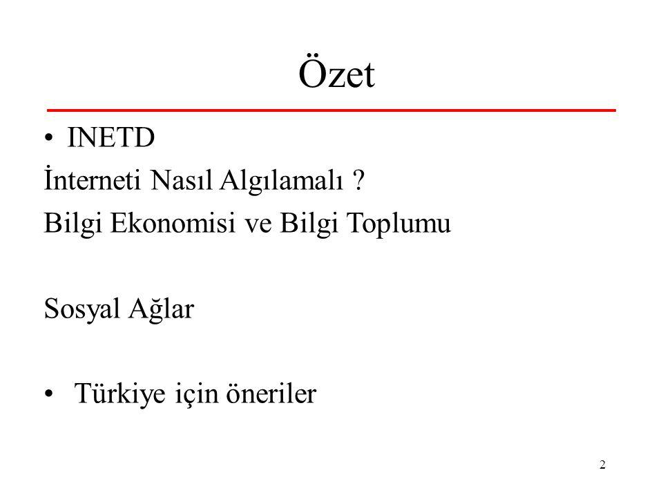 2 Özet INETD İnterneti Nasıl Algılamalı ? Bilgi Ekonomisi ve Bilgi Toplumu Sosyal Ağlar Türkiye için öneriler