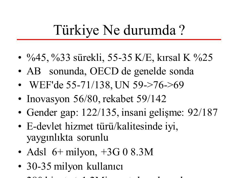 Türkiye Ne durumda ? %45, %33 sürekli, 55-35 K/E, kırsal K %25 AB sonunda, OECD de genelde sonda WEF'de 55-71/138, UN 59->76->69 Inovasyon 56/80, reka