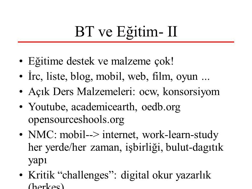 BT ve Eğitim- II Eğitime destek ve malzeme çok! İrc, liste, blog, mobil, web, film, oyun... Açık Ders Malzemeleri: ocw, konsorsiyom Youtube, academice
