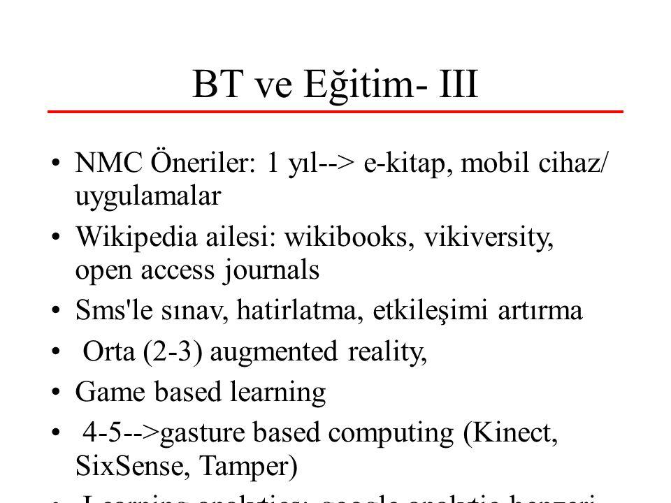 BT ve Eğitim- III NMC Öneriler: 1 yıl--> e-kitap, mobil cihaz/ uygulamalar Wikipedia ailesi: wikibooks, vikiversity, open access journals Sms le sınav, hatirlatma, etkileşimi artırma Orta (2-3) augmented reality, Game based learning 4-5-->gasture based computing (Kinect, SixSense, Tamper) Learning analytics: google analytic benzeri, data-mining Amac: internetdeki kaynakları etkin kullanmaya destek