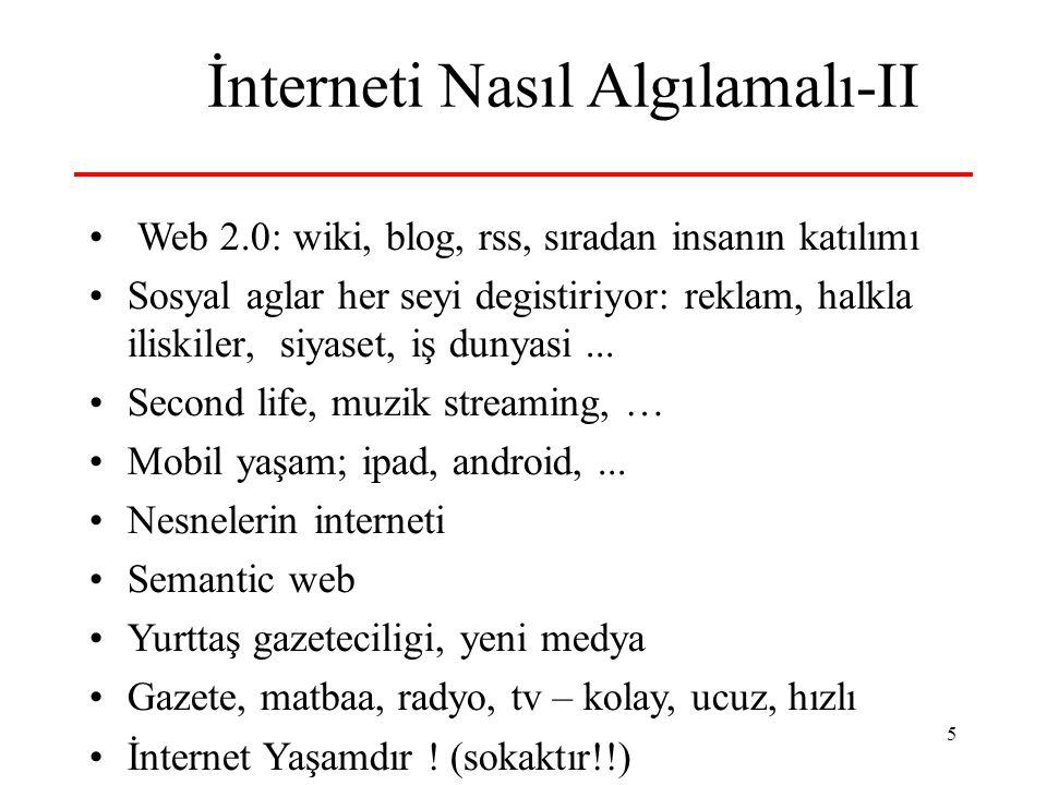 5 İnterneti Nasıl Algılamalı-II Web 2.0: wiki, blog, rss, sıradan insanın katılımı Sosyal aglar her seyi degistiriyor: reklam, halkla iliskiler, siyas