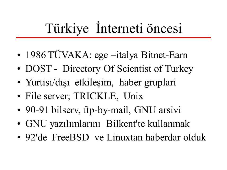Türkiye İnterneti - I 1986 TÜVAKA: ege –italya Bitnet-Earn 1989 – 30 Kurum – TeypNet-NJE - tcp/ip 1991: Kemal Gürüz – Tr-net –dpt-odtü-Tbtak.tr alındı,.com.tr, edu.tr node-admin de OK Bilkent-itu-odtü-tbtak agı 1992: x.25 ripe bağlantısı 12 nisan 1993 odtü-bilkent-tbtak … istanbul Bilişim'93 – ilk tanıtım, bilkent ve odtü webi