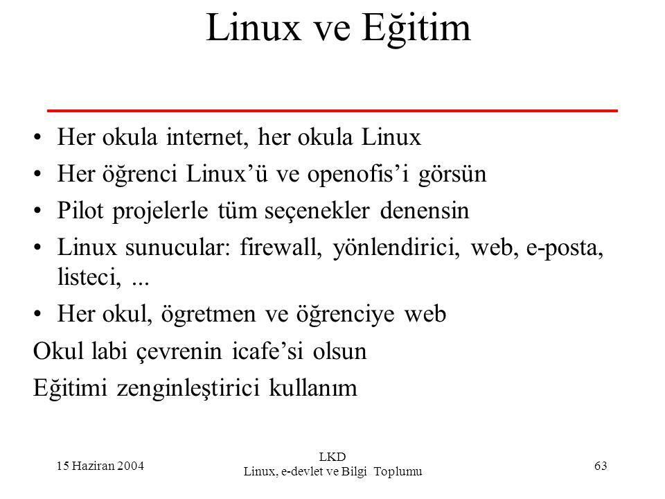 15 Haziran 2004 LKD Linux, e-devlet ve Bilgi Toplumu 63 Linux ve Eğitim Her okula internet, her okula Linux Her öğrenci Linux'ü ve openofis'i görsün P
