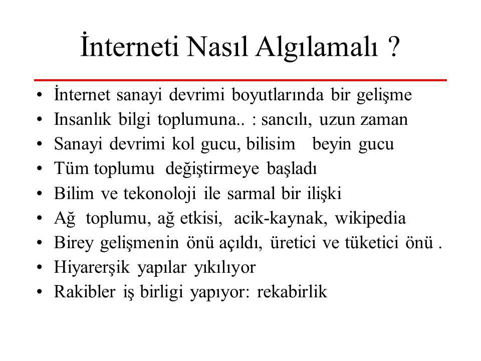 İnterneti Nasıl Algılamalı ? İnternet sanayi devrimi boyutlarında bir gelişme Insanlık bilgi toplumuna.. : sancılı, uzun zaman Sanayi devrimi kol gucu