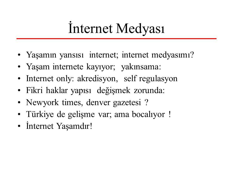 İnternet Medyası Yaşamın yansısı internet; internet medyasımı? Yaşam internete kayıyor; yakınsama: Internet only: akredisyon, self regulasyon Fikri ha