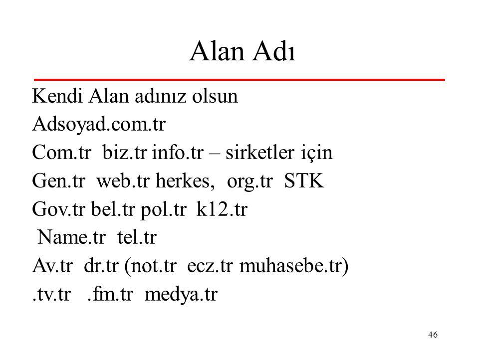 46 Alan Adı Kendi Alan adınız olsun Adsoyad.com.tr Com.tr biz.tr info.tr – sirketler için Gen.tr web.tr herkes, org.tr STK Gov.tr bel.tr pol.tr k12.tr