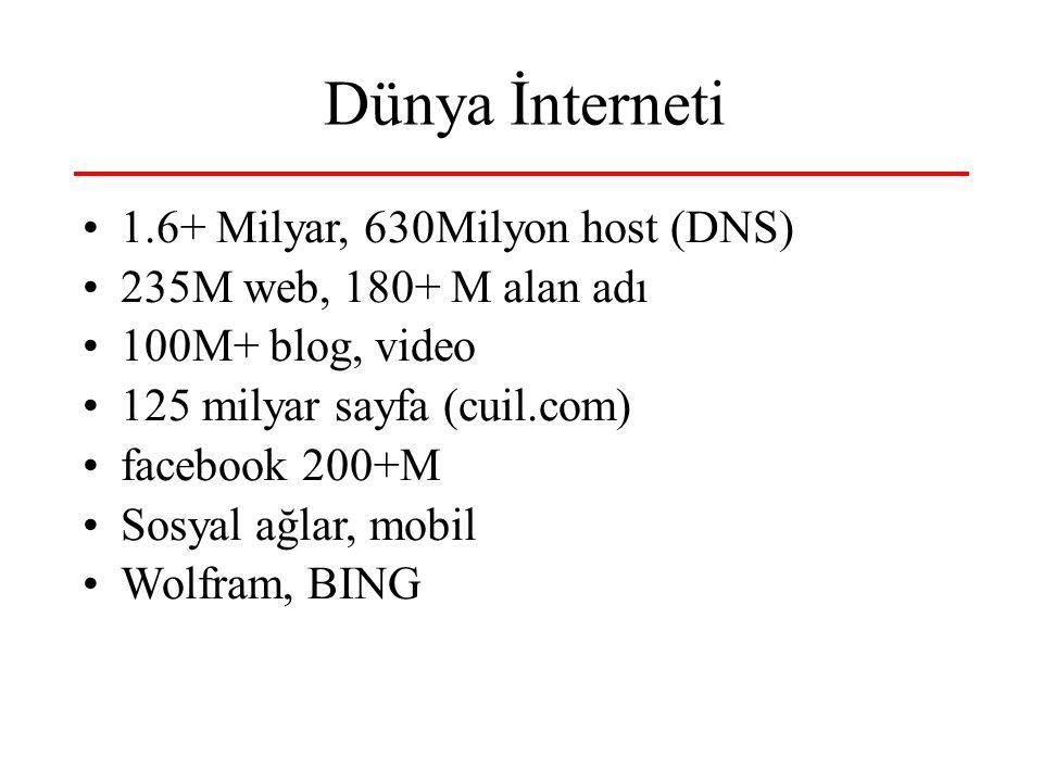 Dünya İnterneti 1.6+ Milyar, 630Milyon host (DNS) 235M web, 180+ M alan adı 100M+ blog, video 125 milyar sayfa (cuil.com) facebook 200+M Sosyal ağla