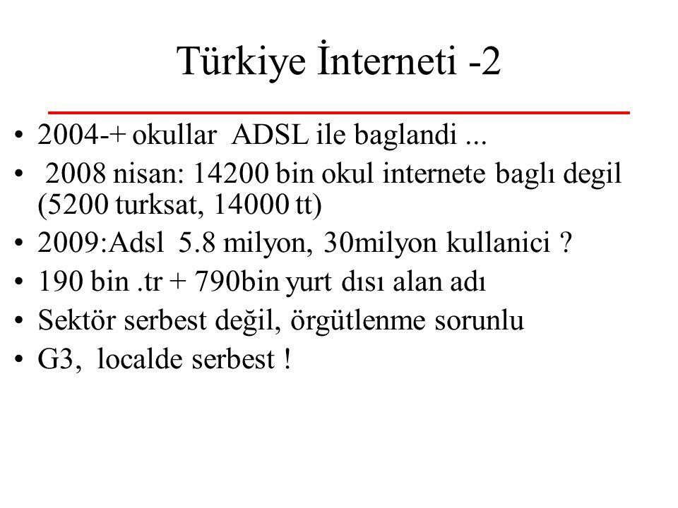 Türkiye İnterneti -2 2004-+ okullar ADSL ile baglandi...