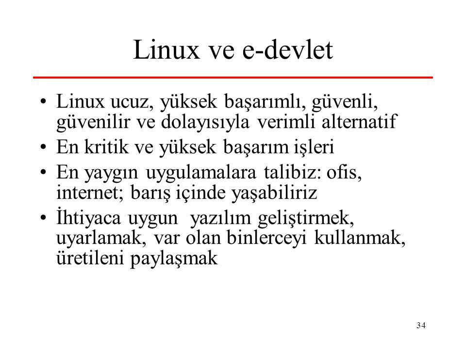 34 Linux ve e-devlet Linux ucuz, yüksek başarımlı, güvenli, güvenilir ve dolayısıyla verimli alternatif En kritik ve yüksek başarım işleri En yaygın uygulamalara talibiz: ofis, internet; barış içinde yaşabiliriz İhtiyaca uygun yazılım geliştirmek, uyarlamak, var olan binlerceyi kullanmak, üretileni paylaşmak