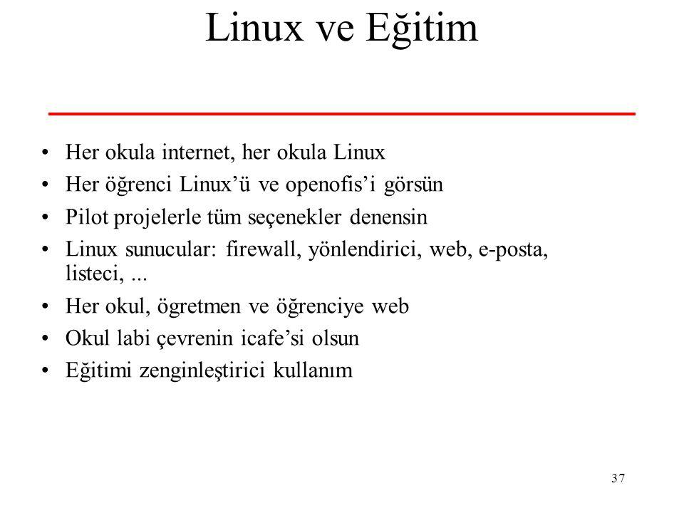 37 Linux ve Eğitim Her okula internet, her okula Linux Her öğrenci Linux'ü ve openofis'i görsün Pilot projelerle tüm seçenekler denensin Linux sunucular: firewall, yönlendirici, web, e-posta, listeci,...