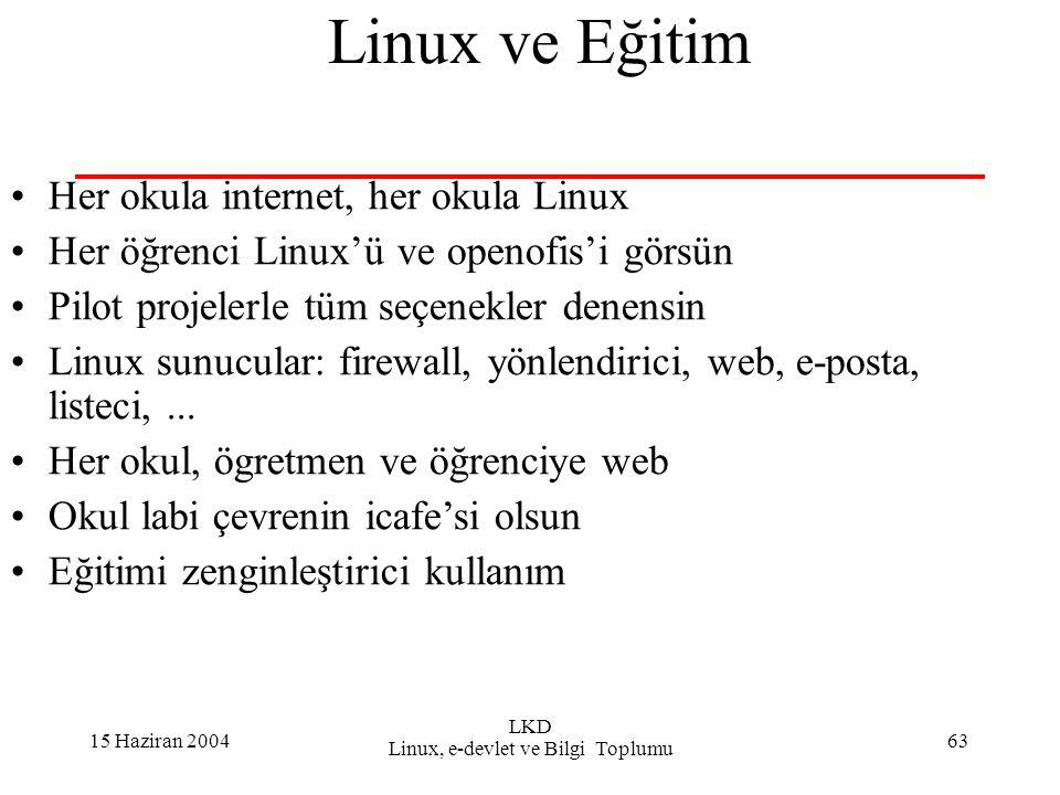 15 Haziran 2004 LKD Linux, e-devlet ve Bilgi Toplumu 63 Linux ve Eğitim Her okula internet, her okula Linux Her öğrenci Linux'ü ve openofis'i görsün Pilot projelerle tüm seçenekler denensin Linux sunucular: firewall, yönlendirici, web, e-posta, listeci,...