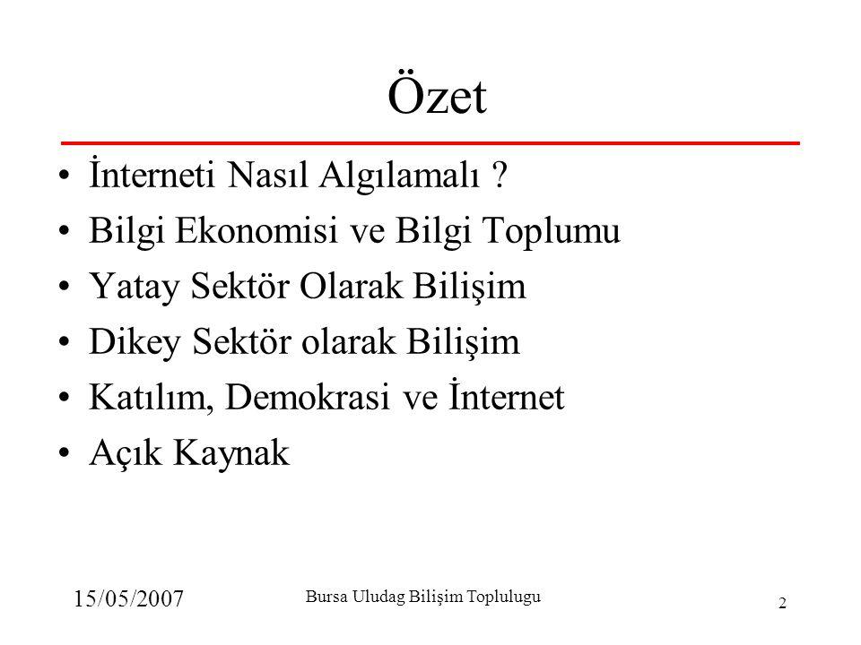 15/05/2007 Bursa Uludag Bilişim Toplulugu 2 Özet İnterneti Nasıl Algılamalı ? Bilgi Ekonomisi ve Bilgi Toplumu Yatay Sektör Olarak Bilişim Dikey Sektö