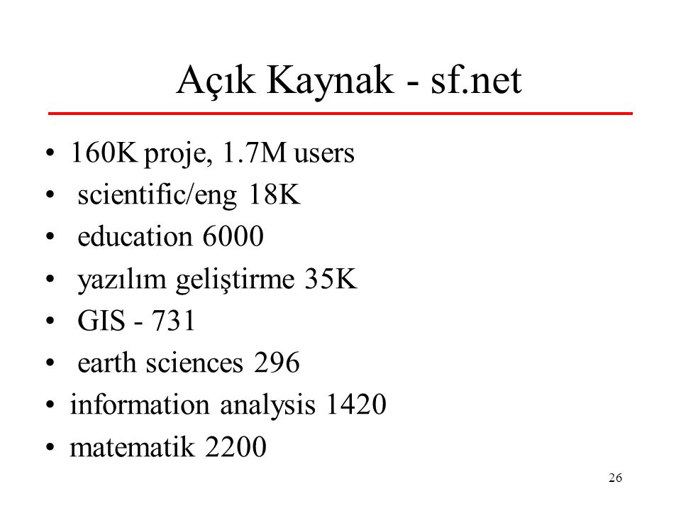 26 Açık Kaynak - sf.net 160K proje, 1.7M users scientific/eng 18K education 6000 yazılım geliştirme 35K GIS - 731 earth sciences 296 information analysis 1420 matematik 2200
