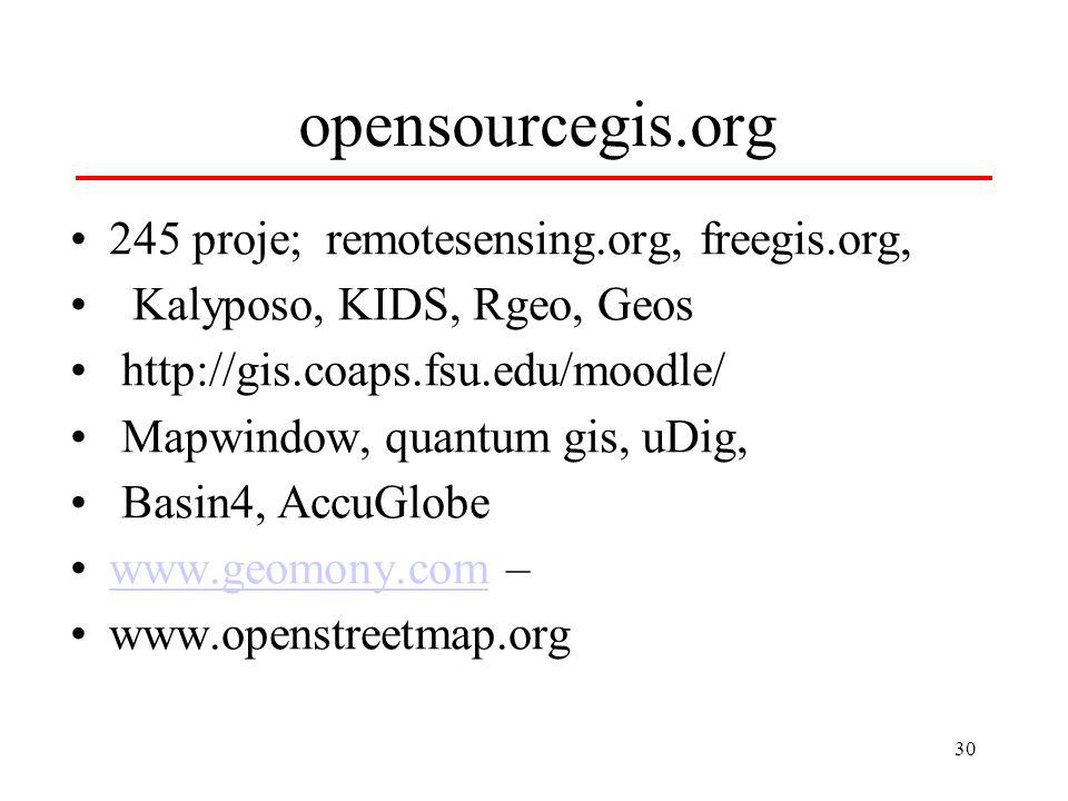 30 opensourcegis.org 245 proje; remotesensing.org, freegis.org, Kalyposo, KIDS, Rgeo, Geos http://gis.coaps.fsu.edu/moodle/ Mapwindow, quantum gis, uDig, Basin4, AccuGlobe www.geomony.com –www.geomony.com www.openstreetmap.org