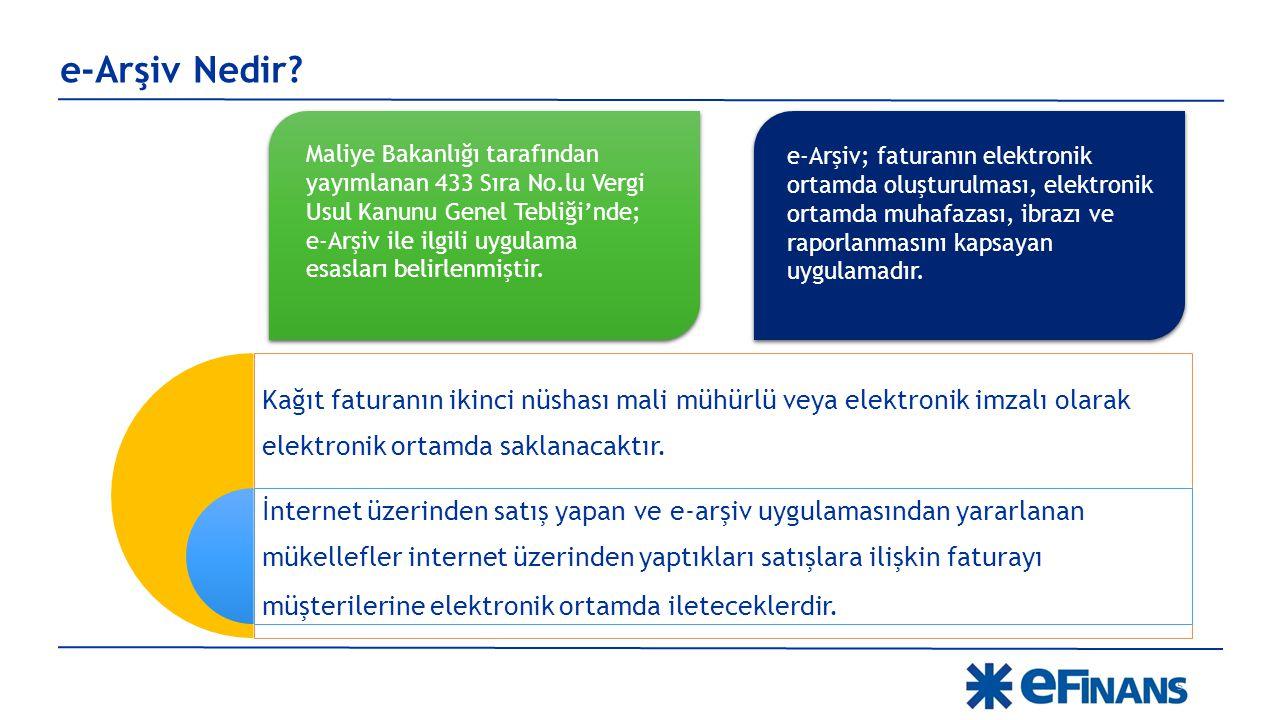 e-Arşiv Nedir? Maliye Bakanlığı tarafından yayımlanan 433 Sıra No.lu Vergi Usul Kanunu Genel Tebliği'nde; e-Arşiv ile ilgili uygulama esasları belirle