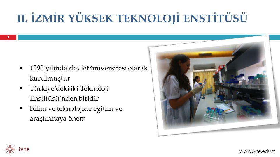 6  Eğitim dili İngilizce  Kampüs Urla, Gülbaçe Köyü'ndedir  3.500 hektarlık kampüs alanı ve 132.000 metre karelik kapalı alan (İzmir'de ki en büyük kampüs alanı) İZMİR YÜKSEK TEKNOLOJİ ENSTİTÜSÜ www.iyte.edu.tr