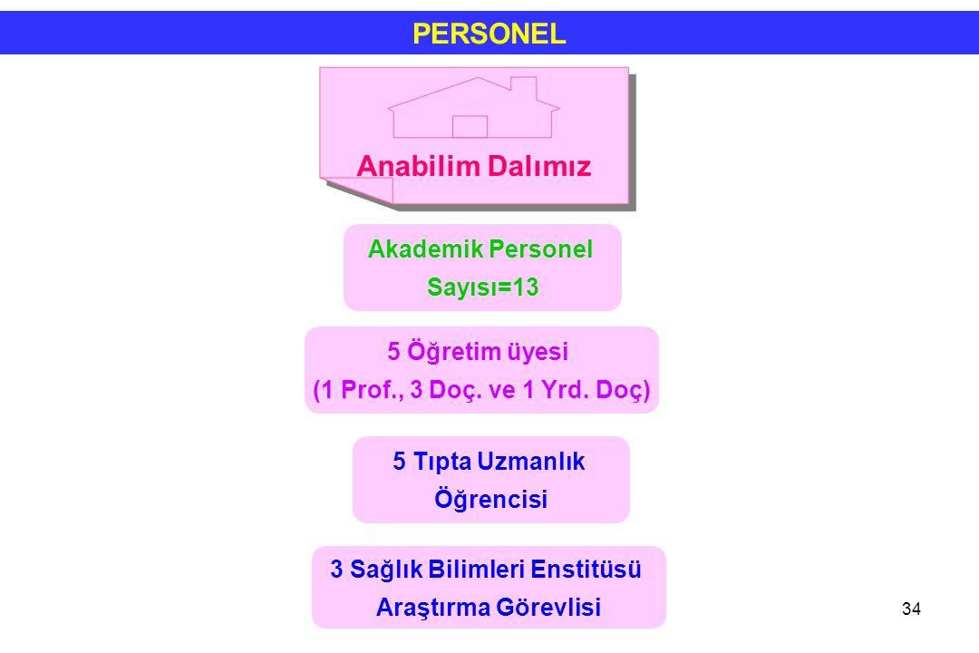 34 PERSONEL Akademik Personel Sayısı=13 5 Öğretim üyesi (1 Prof., 3 Doç. ve 1 Yrd. Doç) 3 Sağlık Bilimleri Enstitüsü Araştırma Görevlisi 5 Tıpta Uzman