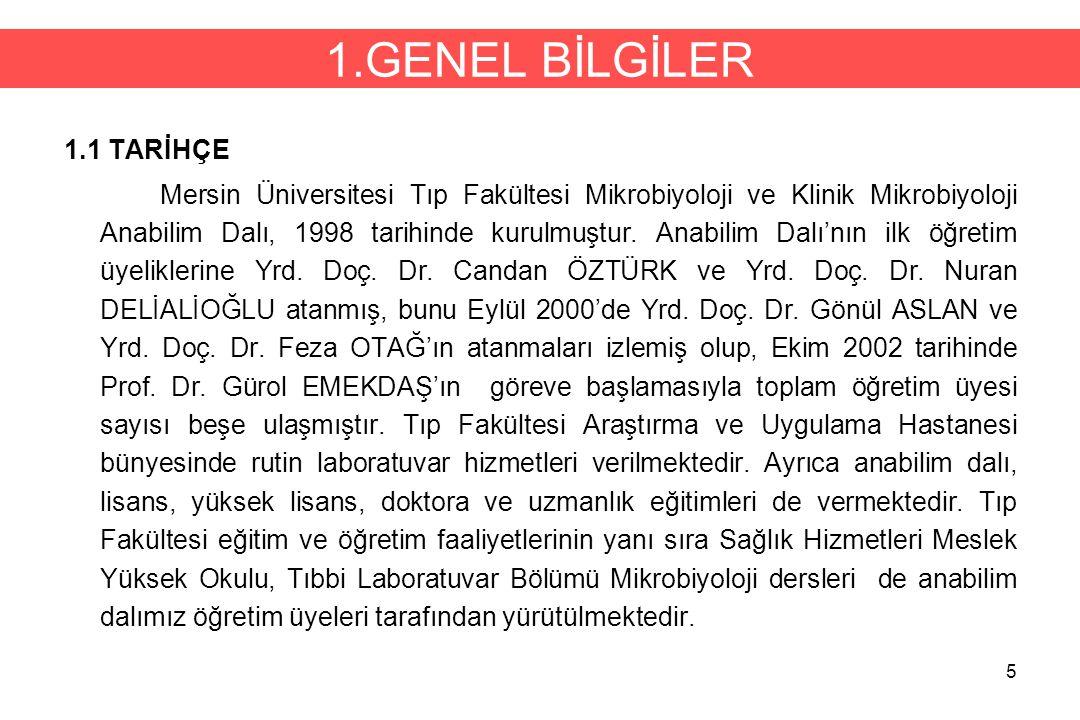 5 1.GENEL BİLGİLER 1.1 TARİHÇE Mersin Üniversitesi Tıp Fakültesi Mikrobiyoloji ve Klinik Mikrobiyoloji Anabilim Dalı, 1998 tarihinde kurulmuştur. Anab