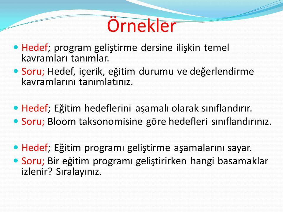 Örnekler Hedef; program geliştirme dersine ilişkin temel kavramları tanımlar. Soru; Hedef, içerik, eğitim durumu ve değerlendirme kavramlarını tanımla