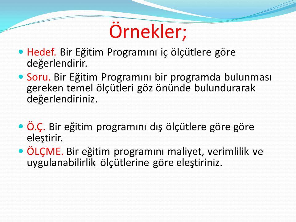 Örnekler; Hedef. Bir Eğitim Programını iç ölçütlere göre değerlendirir. Soru. Bir Eğitim Programını bir programda bulunması gereken temel ölçütleri gö
