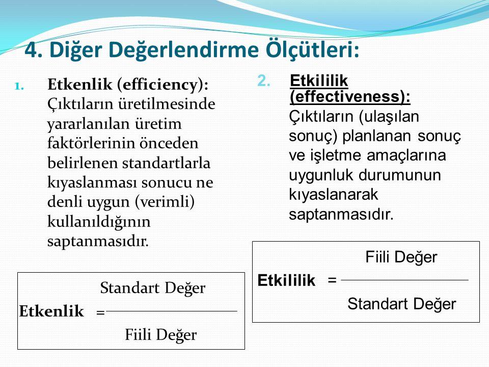 4. Diğer Değerlendirme Ölçütleri: 1. Etkenlik (efficiency): Çıktıların üretilmesinde yararlanılan üretim faktörlerinin önceden belirlenen standartlarl
