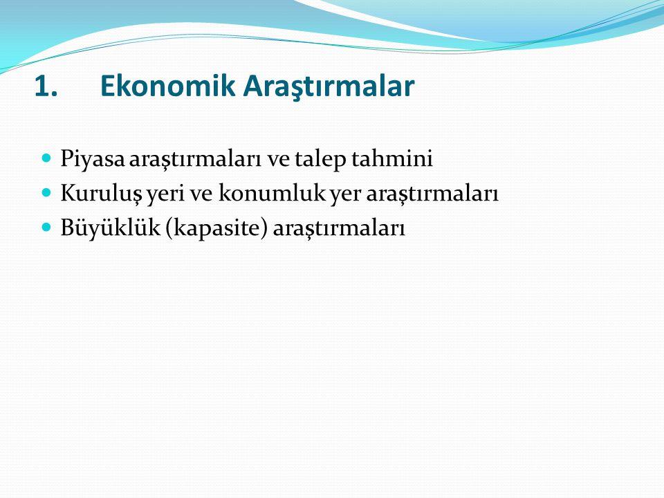 1.Ekonomik Araştırmalar Piyasa araştırmaları ve talep tahmini Kuruluş yeri ve konumluk yer araştırmaları Büyüklük (kapasite) araştırmaları