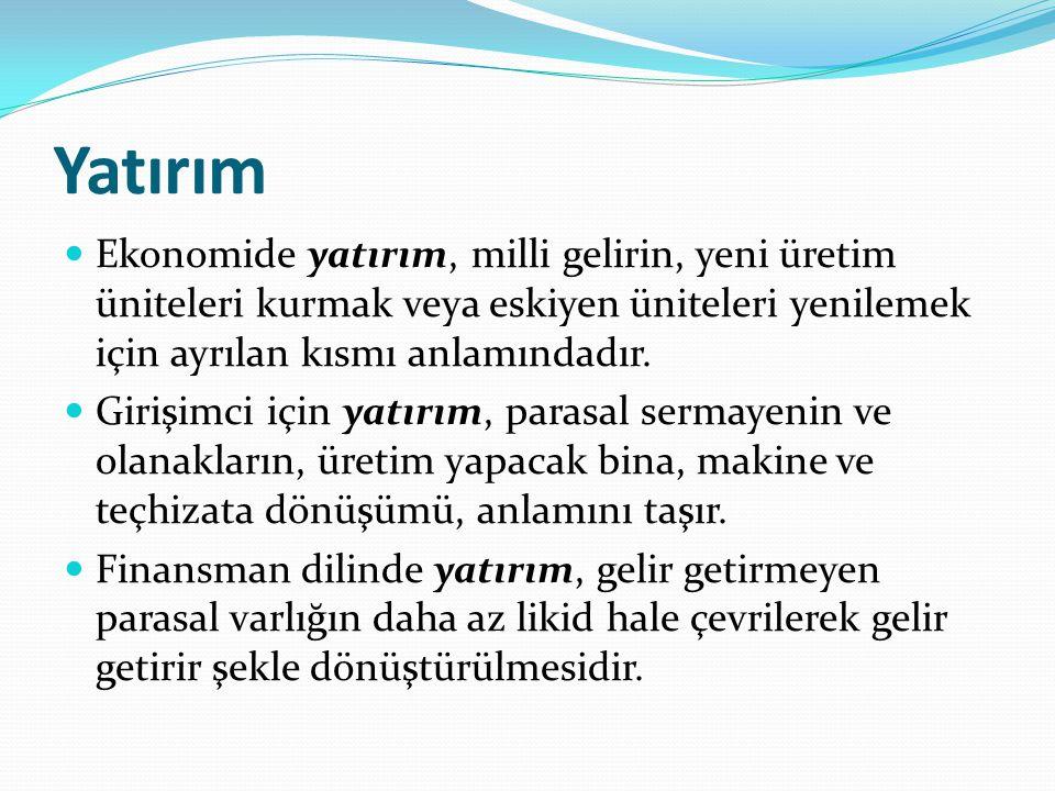 Yatırım Ekonomide yatırım, milli gelirin, yeni üretim üniteleri kurmak veya eskiyen üniteleri yenilemek için ayrılan kısmı anlamındadır. Girişimci içi