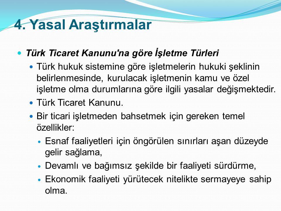 4. Yasal Araştırmalar Türk Ticaret Kanunu'na göre İşletme Türleri Türk hukuk sistemine göre işletmelerin hukuki şeklinin belirlenmesinde, kurulacak iş