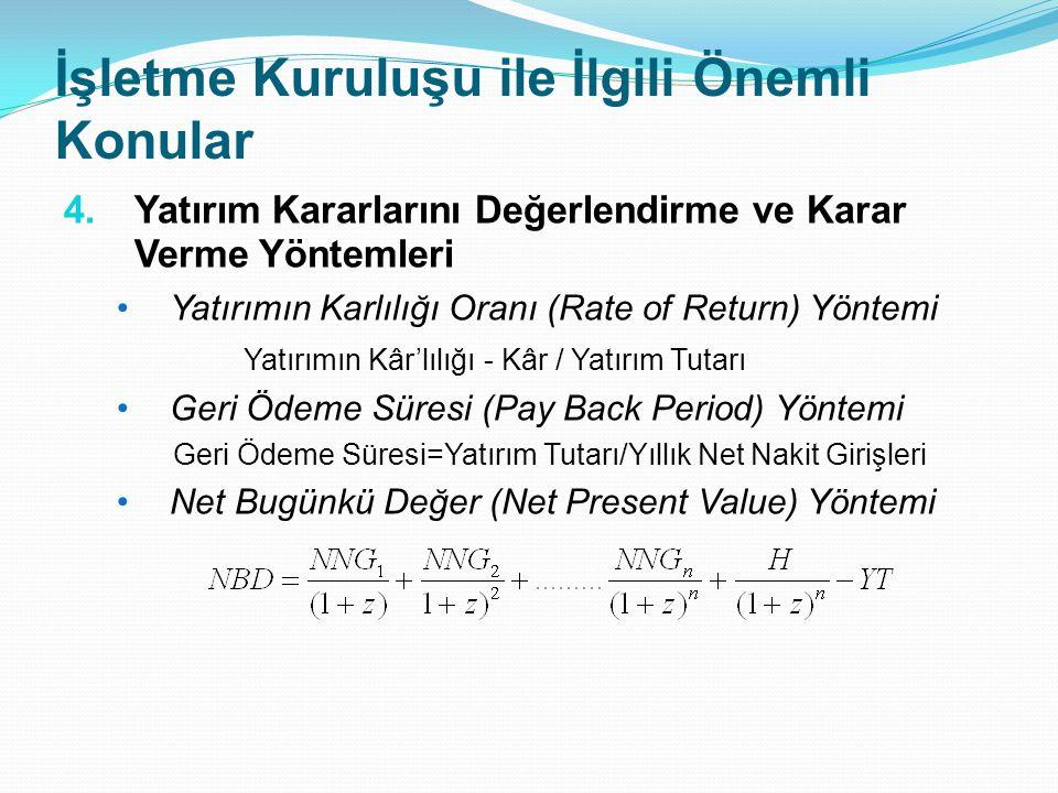 İşletme Kuruluşu ile İlgili Önemli Konular 4.Yatırım Kararlarını Değerlendirme ve Karar Verme Yöntemleri Yatırımın Karlılığı Oranı (Rate of Return) Yö