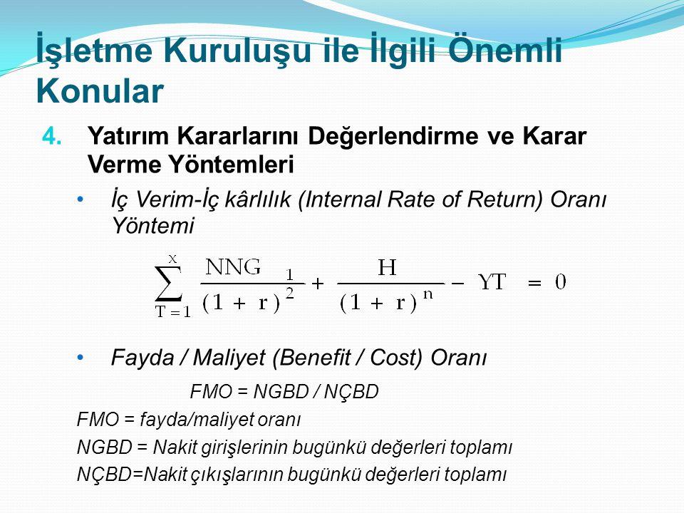 İşletme Kuruluşu ile İlgili Önemli Konular 4.Yatırım Kararlarını Değerlendirme ve Karar Verme Yöntemleri İç Verim-İç kârlılık (Internal Rate of Return