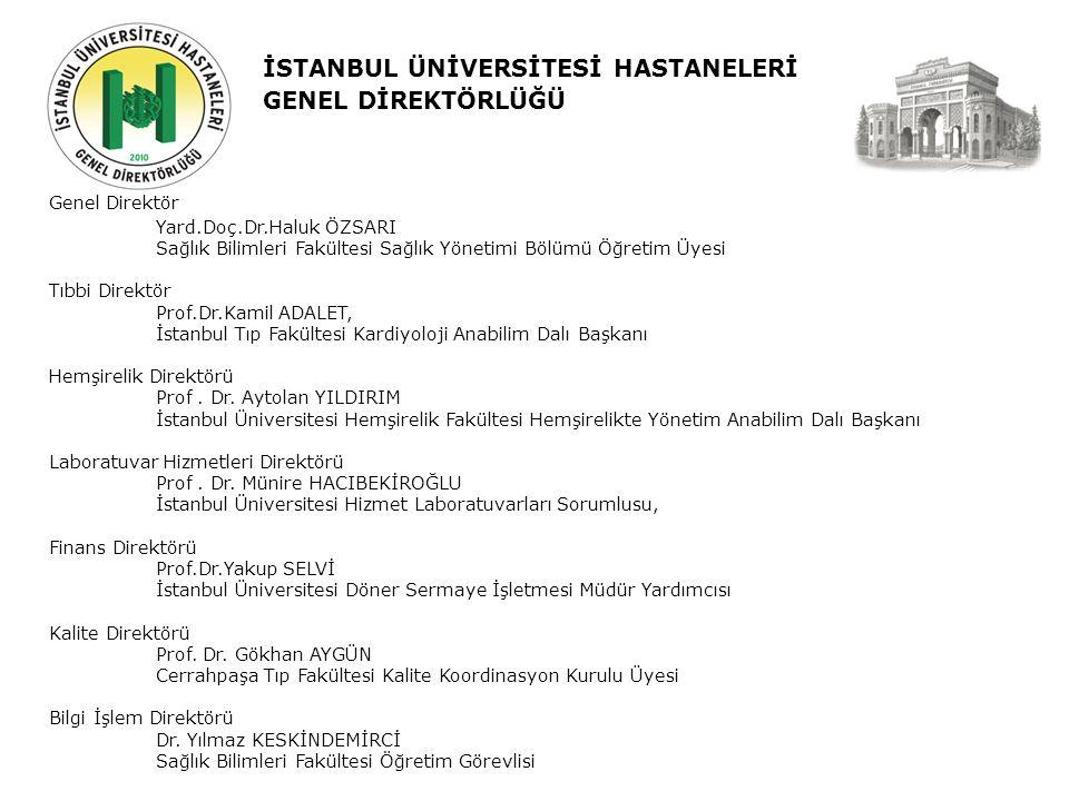 İSTANBUL ÜNİVERSİTESİ HASTANELERİ GENEL DİREKTÖRLÜĞÜ Genel Direktör Yard.Doç.Dr.Haluk ÖZSARI Sağlık Bilimleri Fakültesi Sağlık Yönetimi Bölümü Öğretim Üyesi Tıbbi Direktör Prof.Dr.Kamil ADALET, İstanbul Tıp Fakültesi Kardiyoloji Anabilim Dalı Başkanı Hemşirelik Direktörü Prof.