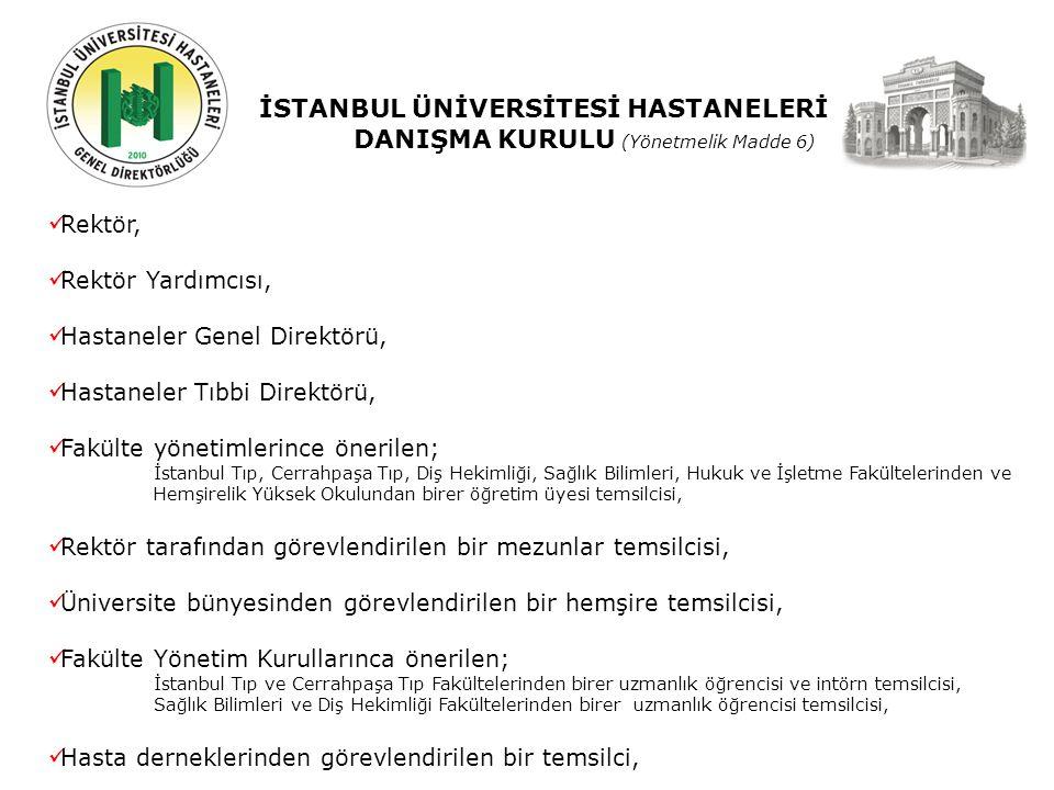 İSTANBUL ÜNİVERSİTESİ HASTANELERİ DANIŞMA KURULU (Yönetmelik Madde 6) Rektör, Rektör Yardımcısı, Hastaneler Genel Direktörü, Hastaneler Tıbbi Direktörü, Fakülte yönetimlerince önerilen; İstanbul Tıp, Cerrahpaşa Tıp, Diş Hekimliği, Sağlık Bilimleri, Hukuk ve İşletme Fakültelerinden ve Hemşirelik Yüksek Okulundan birer öğretim üyesi temsilcisi, Rektör tarafından görevlendirilen bir mezunlar temsilcisi, Üniversite bünyesinden görevlendirilen bir hemşire temsilcisi, Fakülte Yönetim Kurullarınca önerilen; İstanbul Tıp ve Cerrahpaşa Tıp Fakültelerinden birer uzmanlık öğrencisi ve intörn temsilcisi, Sağlık Bilimleri ve Diş Hekimliği Fakültelerinden birer uzmanlık öğrencisi temsilcisi, Hasta derneklerinden görevlendirilen bir temsilci,