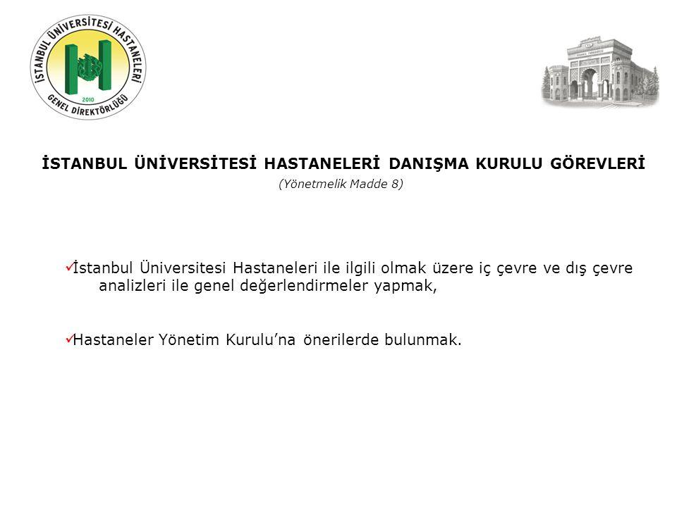 İSTANBUL ÜNİVERSİTESİ HASTANELERİ DANIŞMA KURULU GÖREVLERİ (Yönetmelik Madde 8) İstanbul Üniversitesi Hastaneleri ile ilgili olmak üzere iç çevre ve dış çevre analizleri ile genel değerlendirmeler yapmak, Hastaneler Yönetim Kurulu'na önerilerde bulunmak.