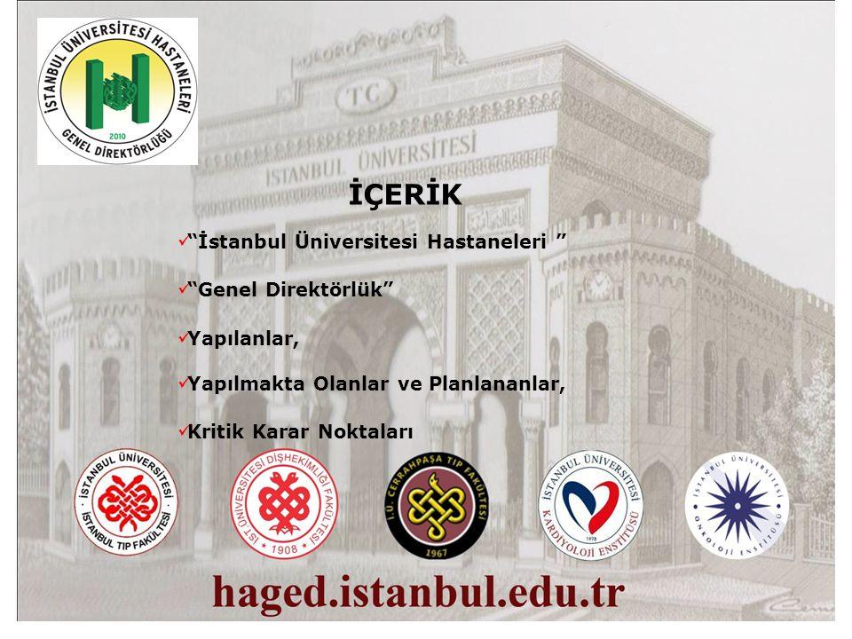 İÇERİK İstanbul Üniversitesi Hastaneleri Genel Direktörlük Yapılanlar, Yapılmakta Olanlar ve Planlananlar, Kritik Karar Noktaları